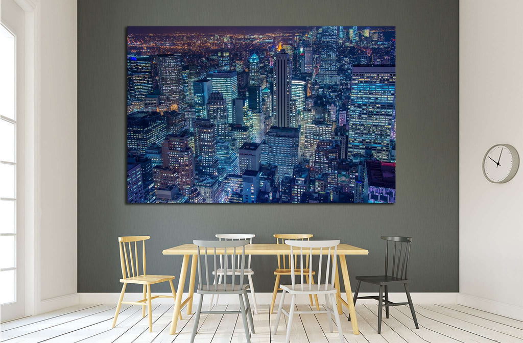 Famous skyscrapers of New York at night №1535 Ready to Hang Canvas Print