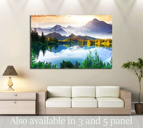 Fantastic sunny day is in mountain lake. Creative collage. Beauty world. №2700 Ready to Hang Canvas Print