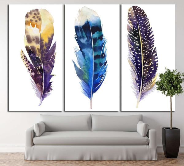 Boho feather set №733 Gallery Wrapped Canvas Art