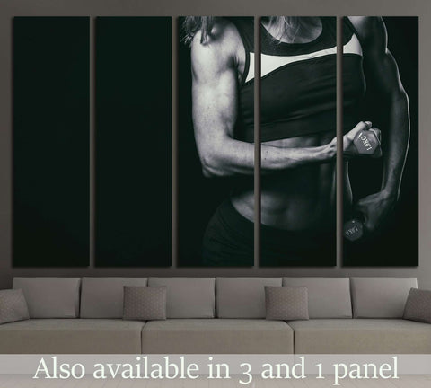 Female fitness, beautiful female body №2132 Ready to Hang Canvas Print