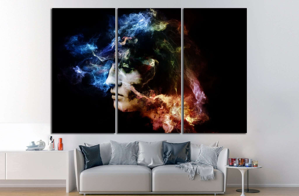 female portrait and space texture №1059 Ready to Hang Canvas Print