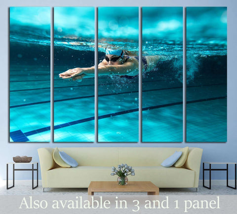 Female swimmer at the swimming pool №1378 Ready to Hang Canvas Print