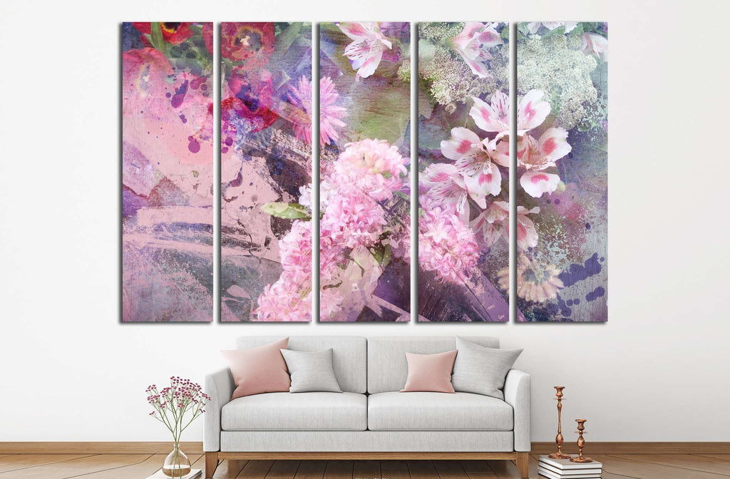field flowers on paper texture, floral grunge №1347 Ready to Hang Canvas Print