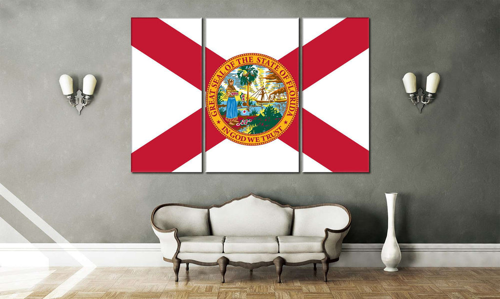 Flag of Florida №835 Ready to Hang Canvas Print