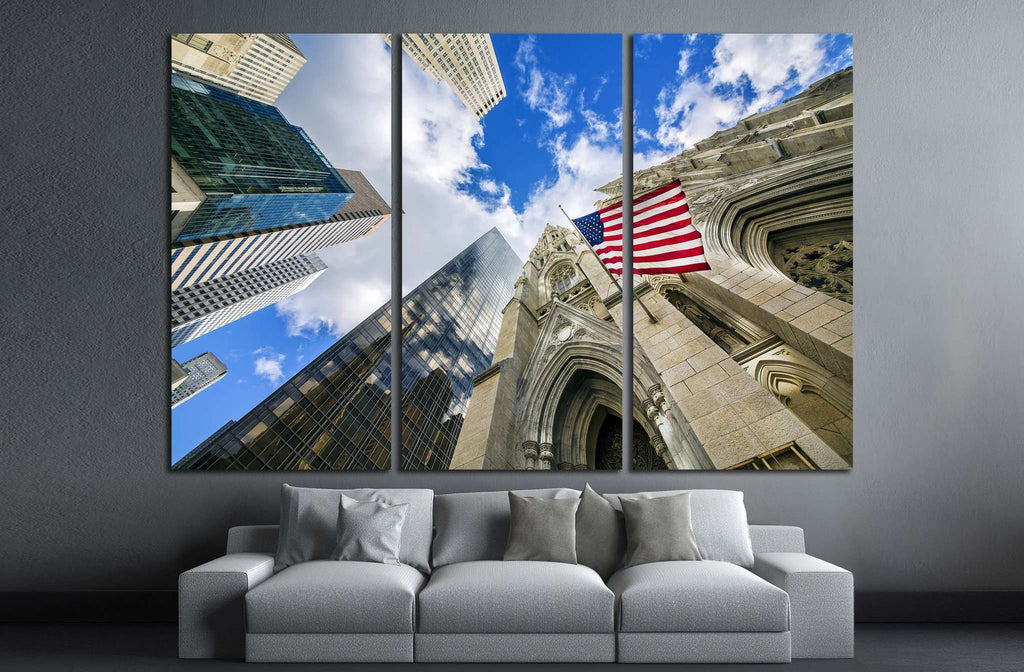 Flag USA on St Patrick's Cathedral, Midtown Skyscrapers, Manhattan, New York №1296 Ready to Hang Canvas Print