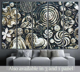 Flowers, abstract grunge surface, black and white №1349 Ready to Hang Canvas Print