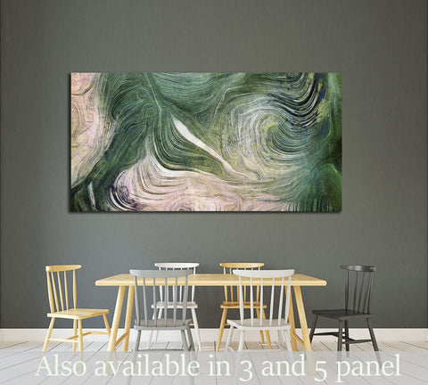 Fluid lines of color movement. Shades of green. Brush strokes №2574 Ready to Hang Canvas Print