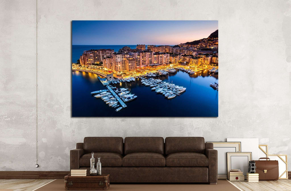 Fontvieille and Monaco Harbor №791 Ready to Hang Canvas Print