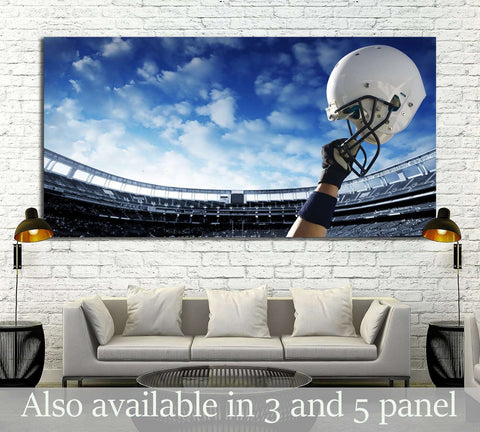 Football Player raises his helmet before an important game №2116 Ready to Hang Canvas Print