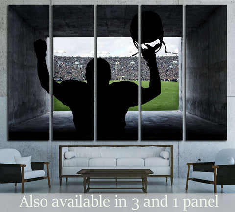 Football Player running out of the Stadium Tunnel №2123 Ready to Hang Canvas Print