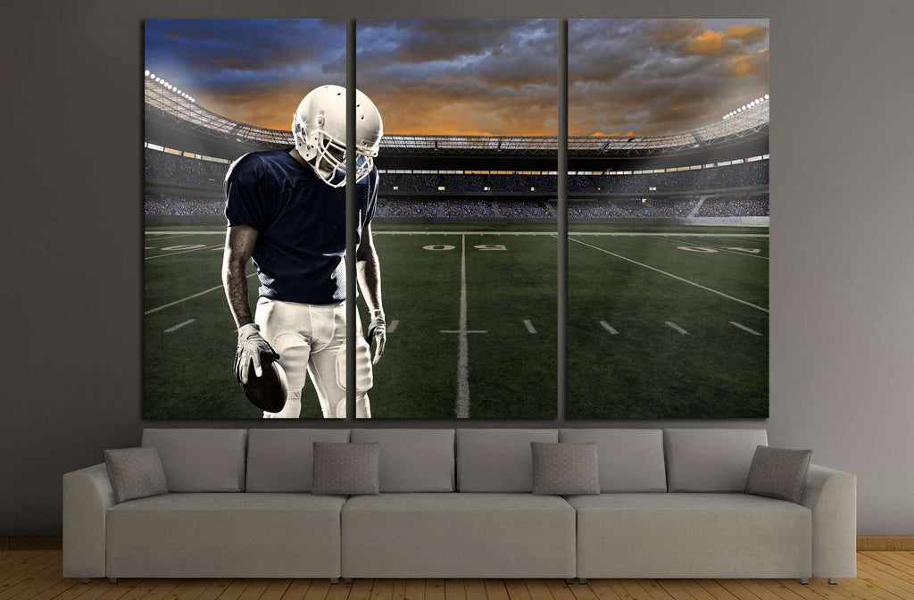 Football player with a blue uniform, in a stadium with fans wearing blue uniform №2122 Ready to Hang Canvas Print