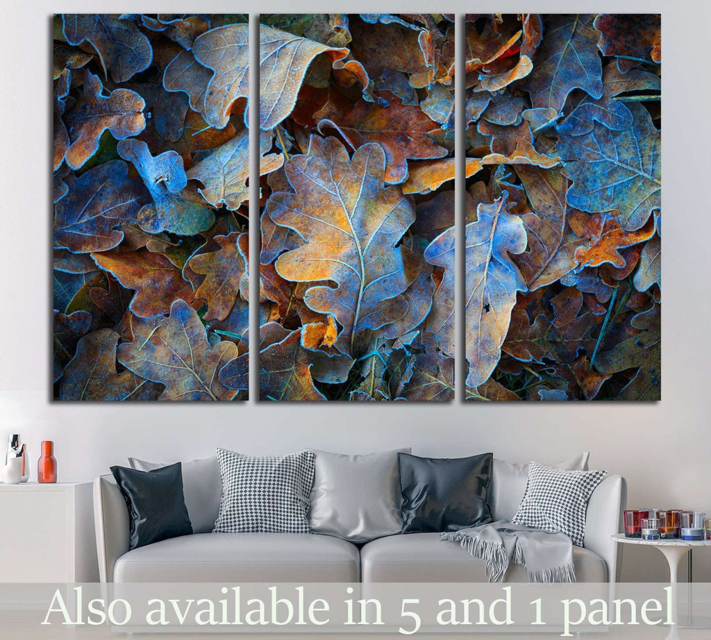 Frozen oak leafs №616 Ready to Hang Canvas Print