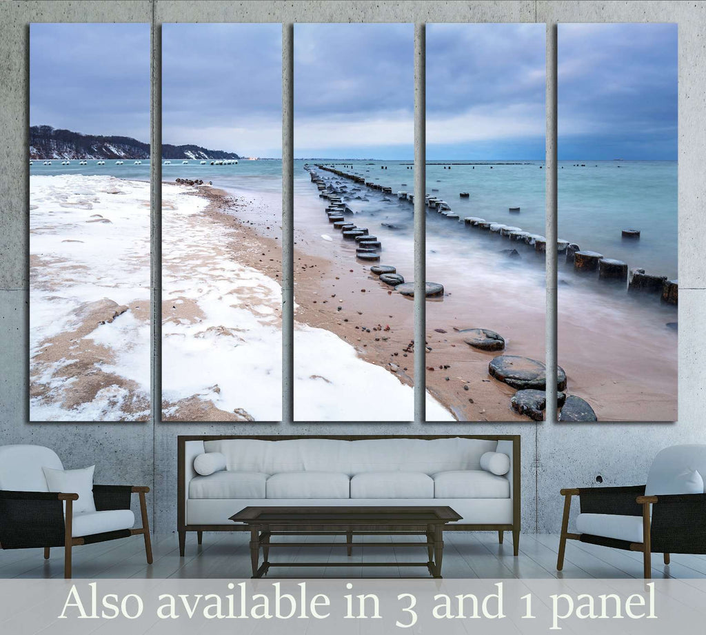 Frozen wooden breakwaters, Babie Doly, Poland №1986 Ready to Hang Canvas Print