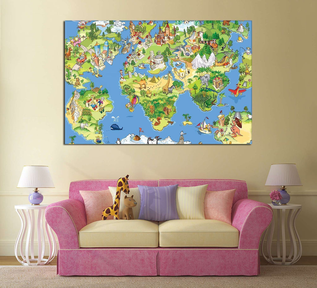Funny Cartoon World Map For Kids Room Canvas Print Zellart - World map for kids room