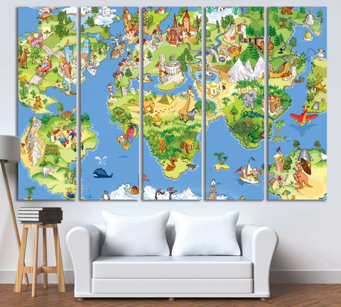 Funny cartoon world map for kids room №795 Ready to Hang Canvas Print