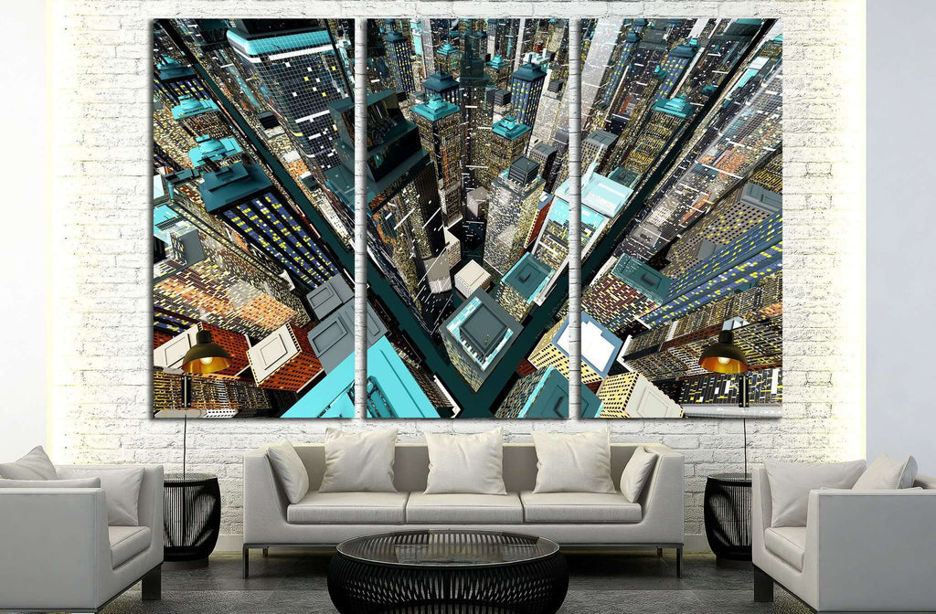 Generic urban architecture and skyscrapers forming a huge city №2048 Ready to Hang Canvas Print