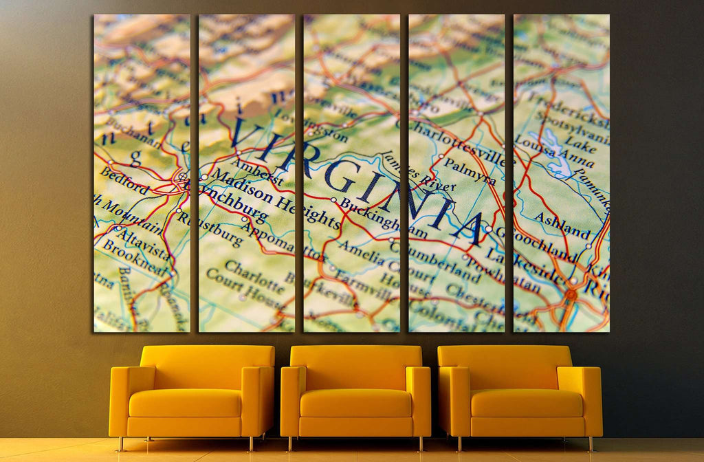 Geographic map of Virginia close №2099 Ready to Hang Canvas Print