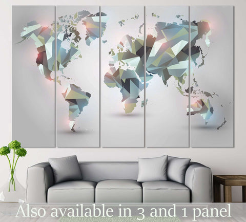 Geometrical World Map №108 Ready to Hang Canvas Print