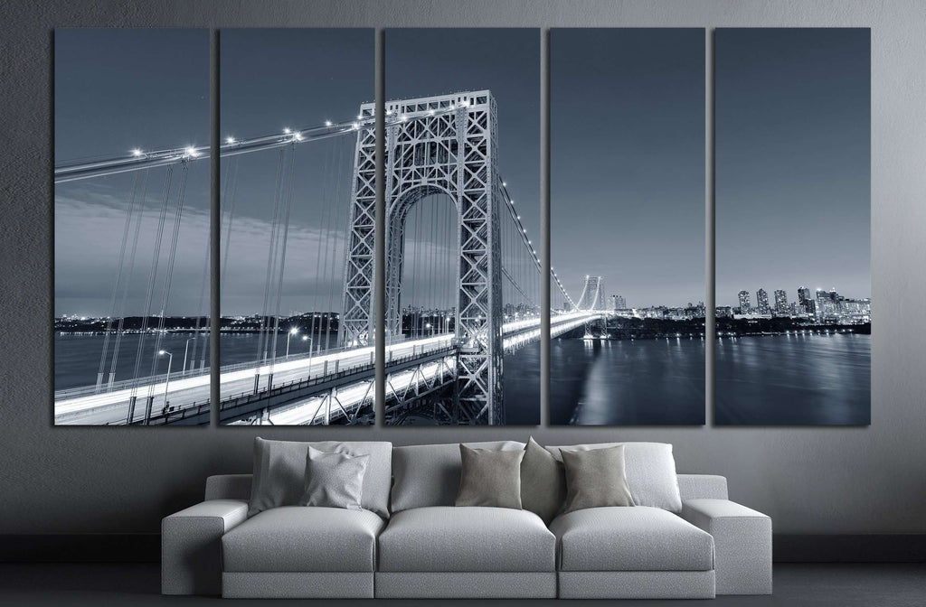 George Washington Bridge black and white over Hudson River №2604 Ready to Hang Canvas Print