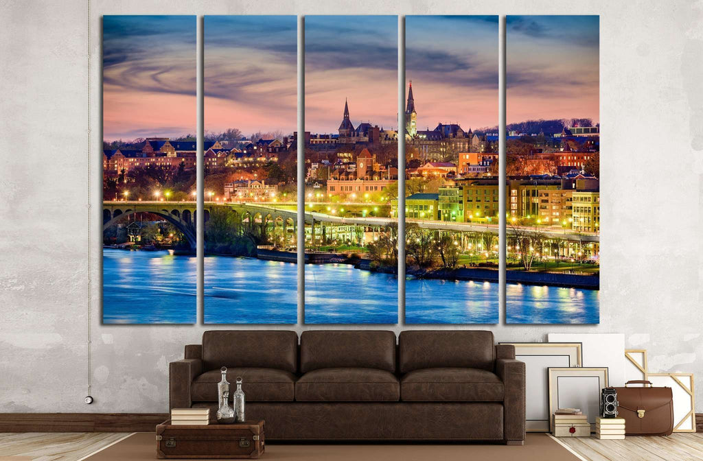 Georgetown, Washington, DC skyline on the Potomac River №1360 Ready to Hang Canvas Print