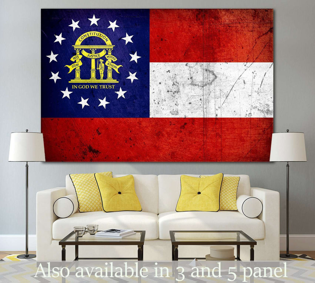 Georgia Grunge Flag №838 Ready to Hang Canvas Print