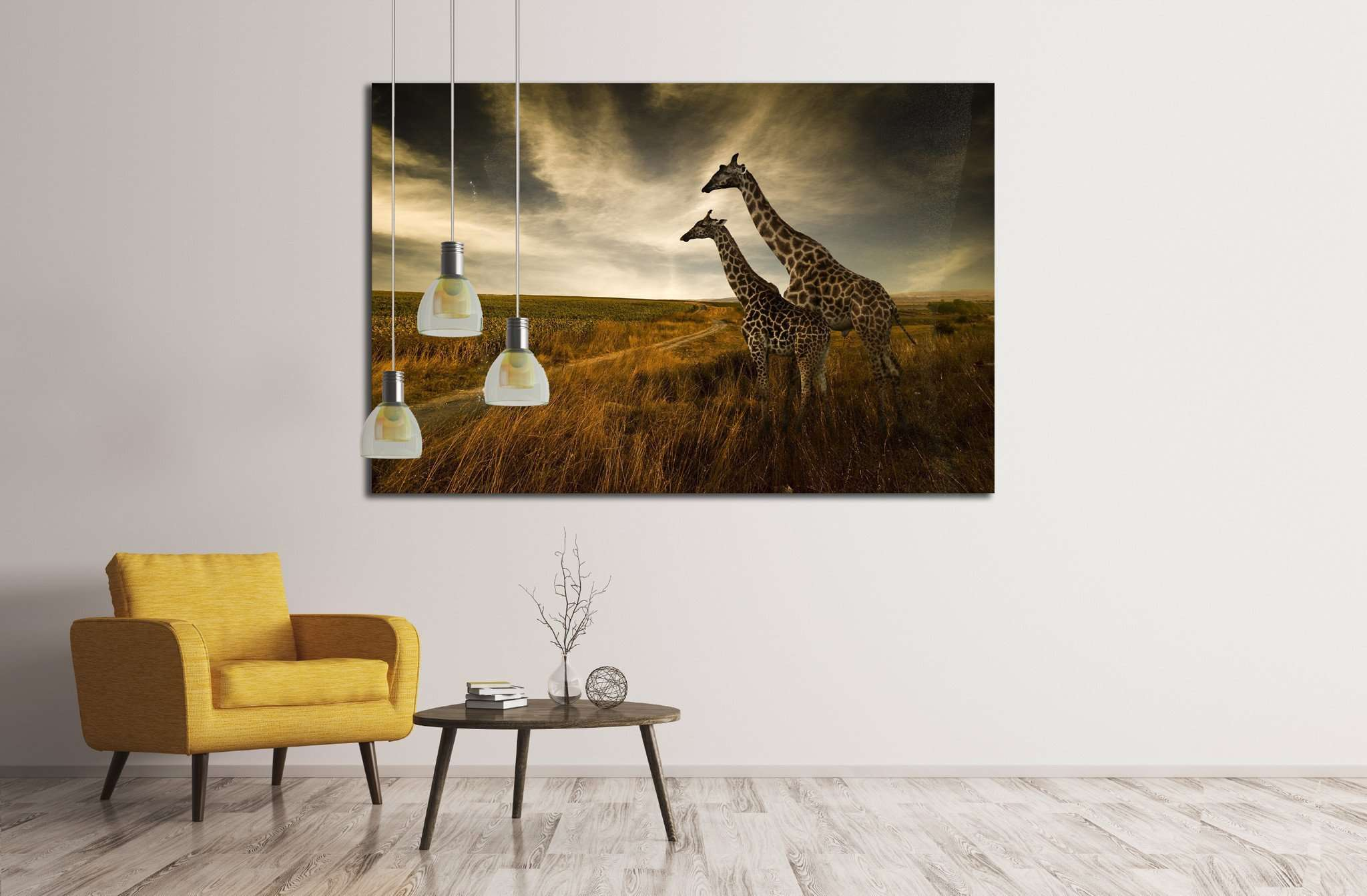 Giraffes and The Landscape №1836 Ready to Hang Canvas Print