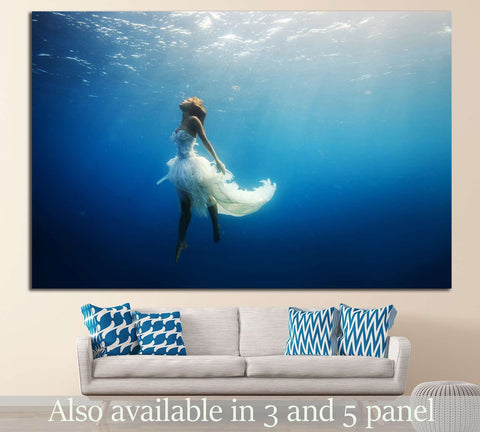 Girl Dancing Underwater №505 Ready to Hang Canvas Print