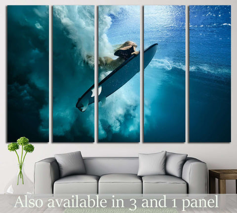 Girl Surfing №510 Ready to Hang Canvas Print