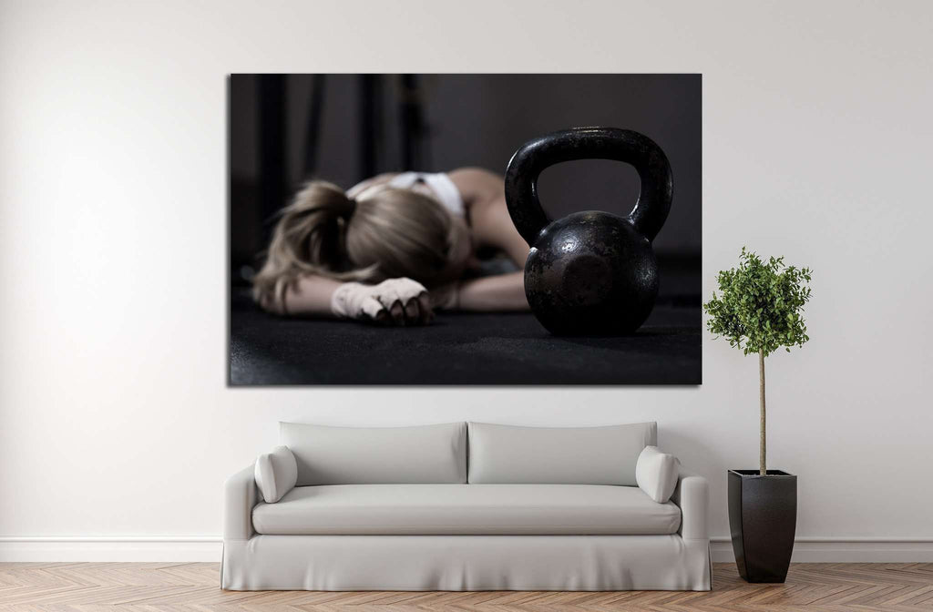 Girl tired after workout with dumbbells №1465 Ready to Hang Canvas Print