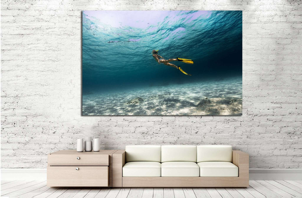 Girl Underwater №502 Ready to Hang Canvas Print