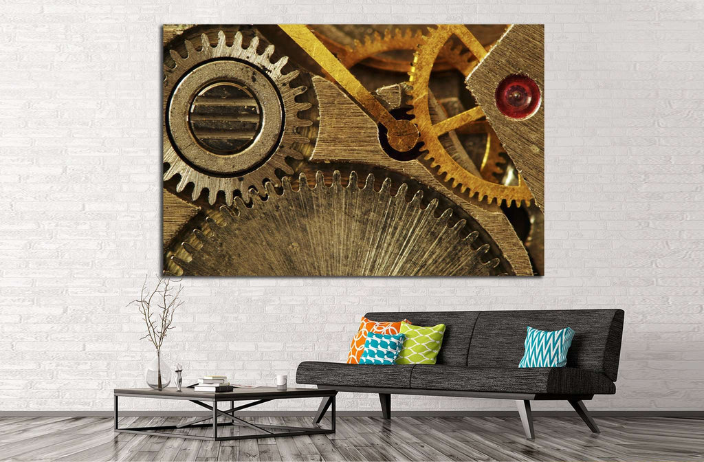 Gold Clock Mechanism №220 Ready to Hang Canvas Print