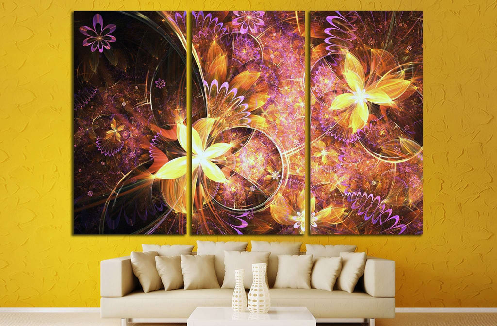 Golden fractal flowers №1425 Ready to Hang Canvas Print