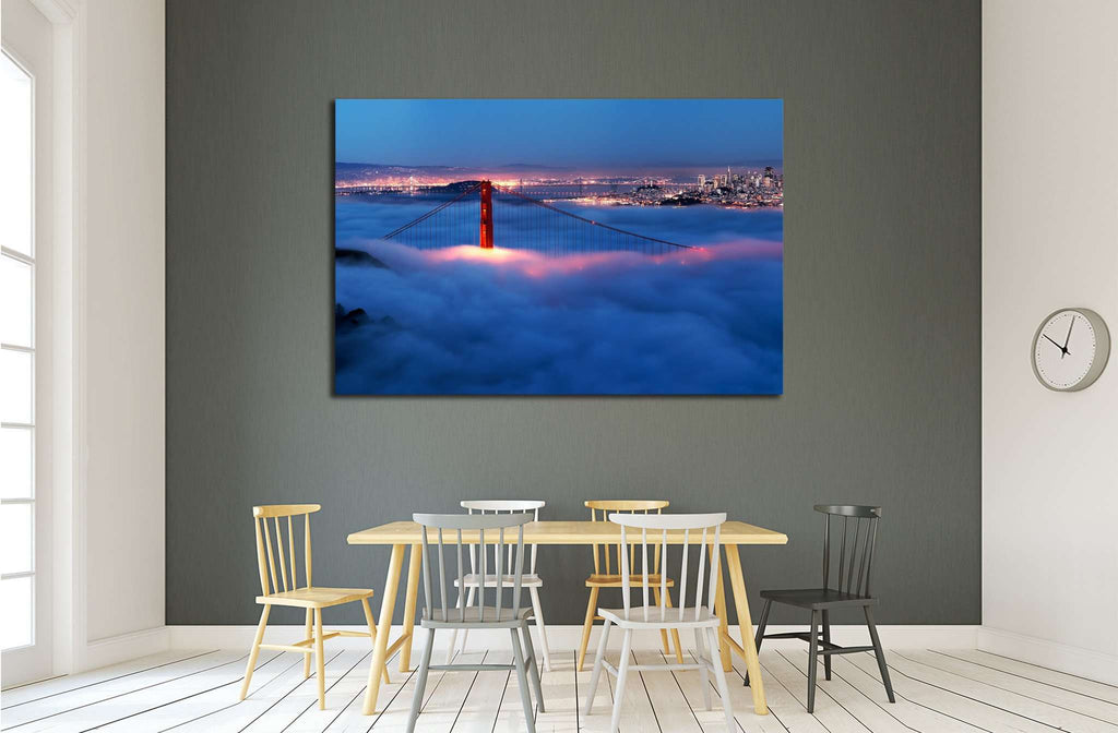 Golden Gate at night surrounded by fog №1935 Ready to Hang Canvas Print