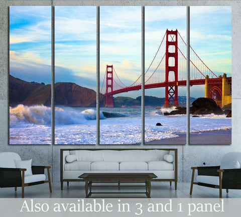 Golden Gate Bridge, Marshall Beach, San Francisco №1506 Ready to Hang Canvas Print