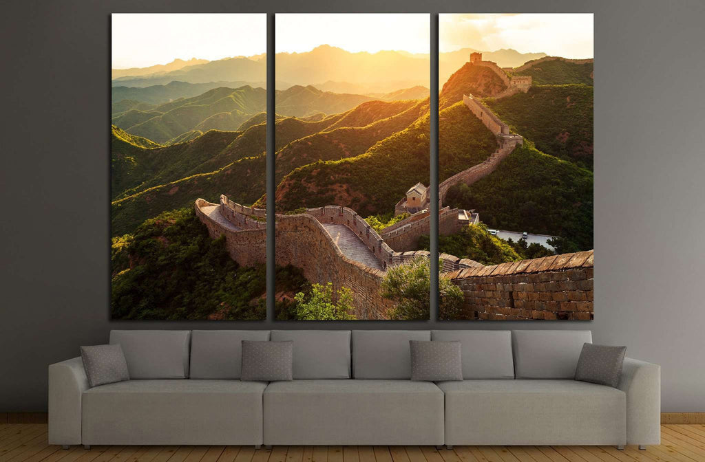 Great wall under sunshine during sunset №1901 Ready to Hang Canvas Print