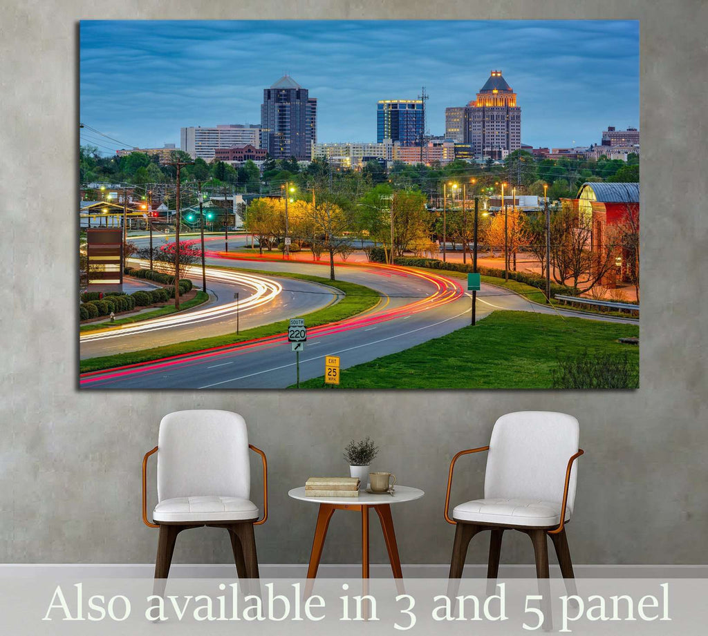 Greensboro, North Carolina, USA downtown skyline №1744 Ready to Hang Canvas Print