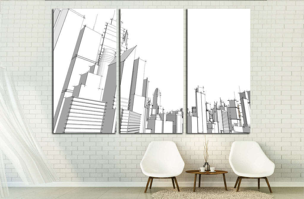 Grey city №1925 Ready to Hang Canvas Print