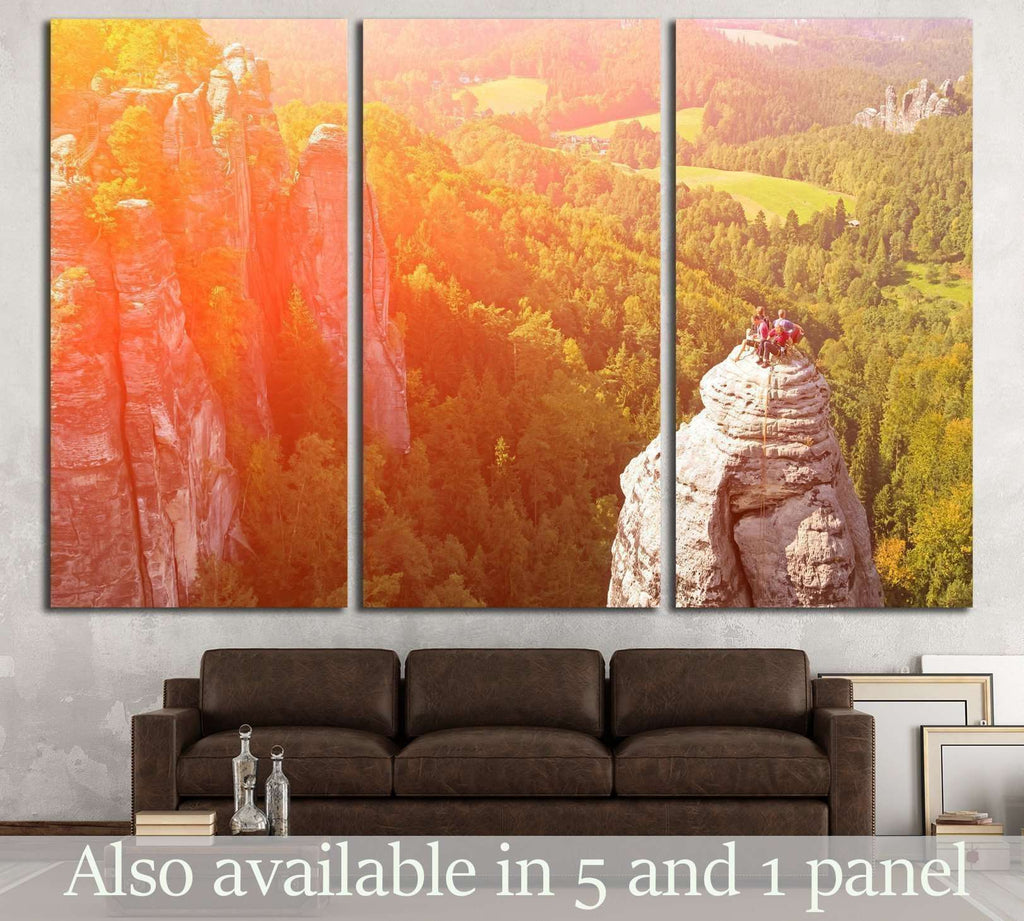 Group of climbers on a cliff №1382 Ready to Hang Canvas Print