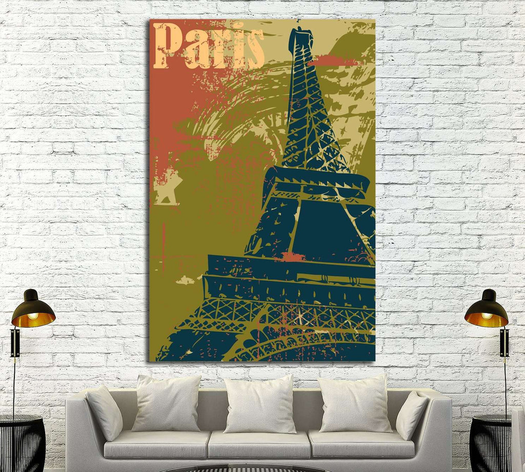 Grunge style Eiffel Tower layout №4524 Ready to Hang Canvas Print ...