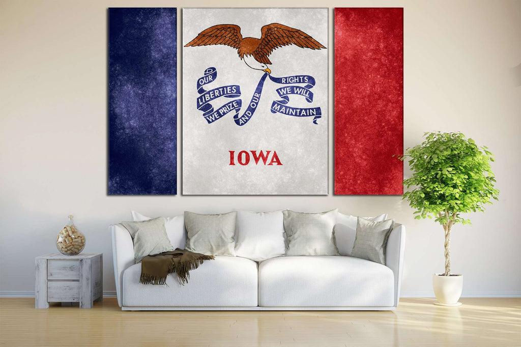 Grungy Flag of Lowa №832 Ready to Hang Canvas Print