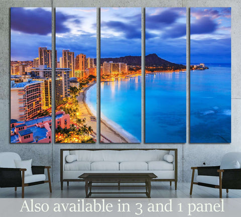 Hawaii, Skyline of Honolulu, Diamond Head volcano, Waikiki Beach №1737 Ready to Hang Canvas Print