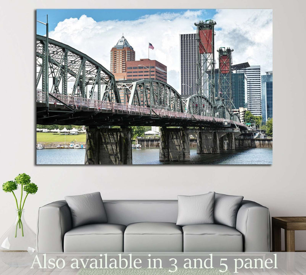 Hawthorn bridge, Portland, Oregon №796 Ready to Hang Canvas Print