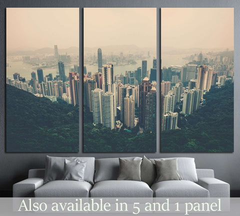 Haze Hong Kong downtown view from Victoria peak. Filtered shot №2314 Ready to Hang Canvas Print