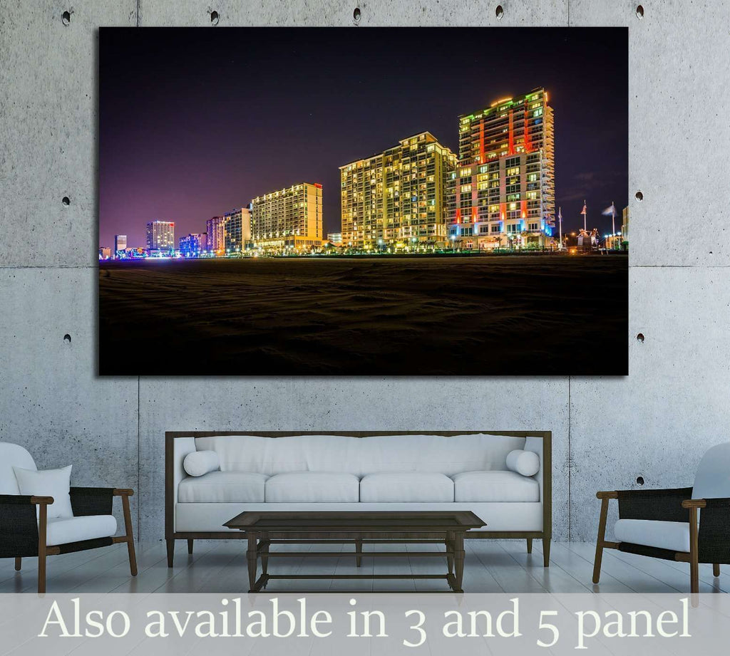 Highrise hotels on the oceanfront at night, in Virginia Beach, Virginia №1742 Ready to Hang Canvas Print