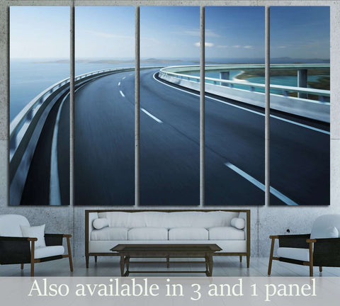 Highway overpass motion blur with coast skyline background №3284 Ready to Hang Canvas Print