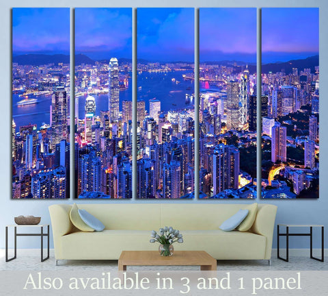 Hong Kong at night №764 Ready to Hang Canvas Print