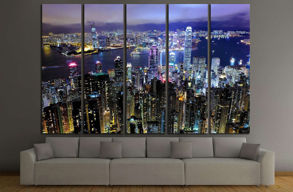 Hong Kong at night №771 Ready to Hang Canvas Print