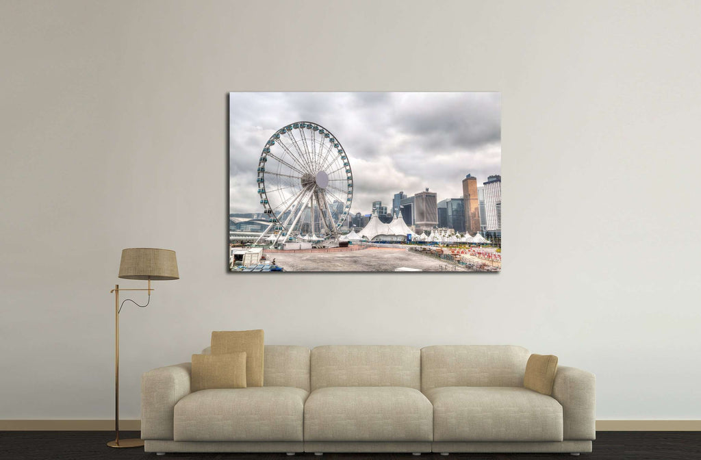Hong Kong skyline at downtown Central Pier overlooking Victoria Harbor №2330 Ready to Hang Canvas Print