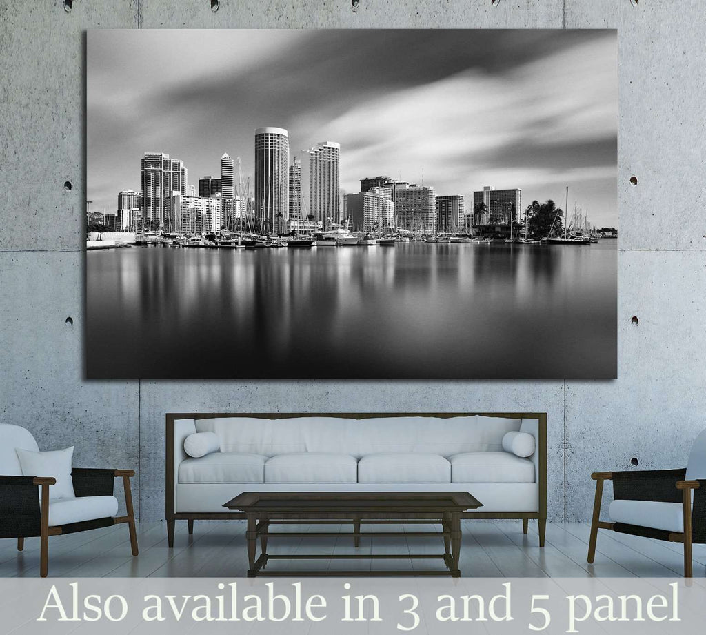HONOLULU, HAWAII, Waikiki and Kahanamoku Lagoon №1750 Ready to Hang Canvas Print