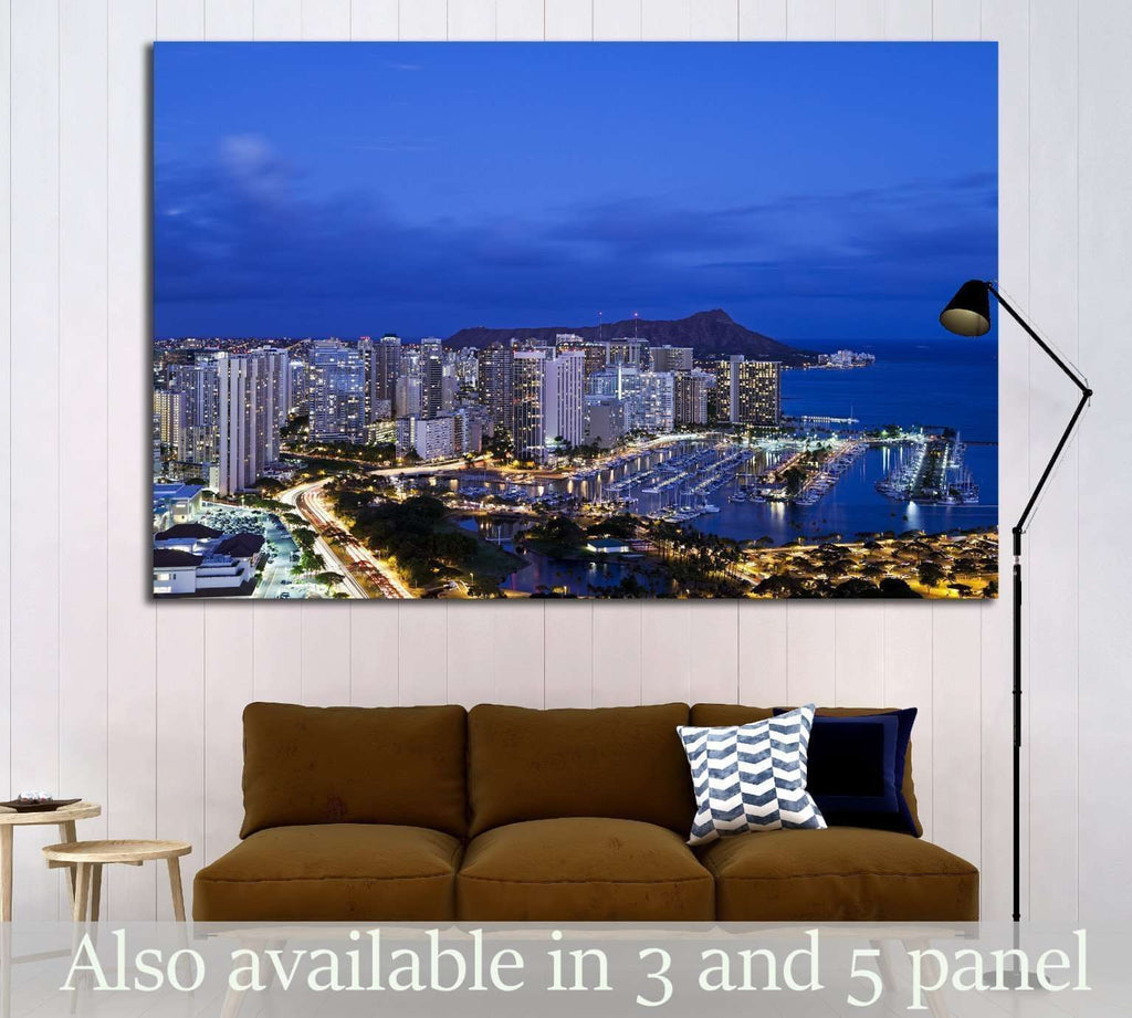 Honolulu with Ilikai Marina №1772 Ready to Hang Canvas Print